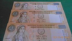 2004 / 3 db UNC Sorszámkövető Ciprus 1 Pound
