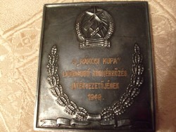 E12 A Rákosi 1949 foci kupa játékvezetőjének emlékplakett ritkaság JÁKFALVY TERVEZŐJE