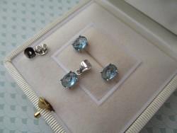 Szolid ezüst szett - fülbevaló és medál - fazettált kék köves - új ékszer