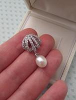Ezüst medál tenyésztett gyöngy és cirkónia - új ékszer