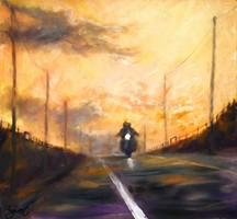 Motorosok naplementében // Bikers in the sunset