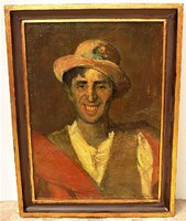 Id. Benedek Jenő ( 1906-1987) Kalapos férfi c. olajfestménye 77x58cm Eredeti garanciával!