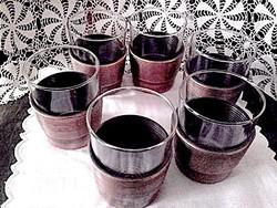Retro iparművészeti üveg pohár bronz tartóban 6 db