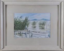 Balatoni horgász, akvarell, Mikó jelz.
