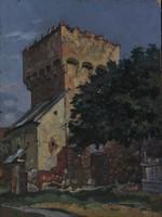 Ismeretlen festő: Utcakép középkori bástyával