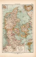 Dánia térkép 1904, eredeti nyomat, Moritz Perles