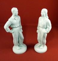Herendi porcelán Sztahanovista  munkás+munkásnő 1950
