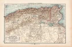 Algéria és Tunézia térkép 1904, eredeti nyomat, Moritz Perles
