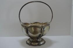 Wilhelm Binder ezüst kínáló üvegbetéttel, .800-as netto 681g