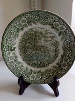 Broadhurst Staffordshire,tájkép 3 lovas fogat templom,zöld mintás tányér-20 cm