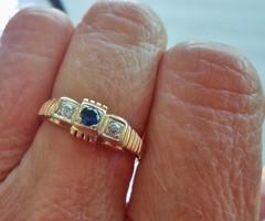 Nagyon szép antik art deco brill zafír 14kt aranygyűrű