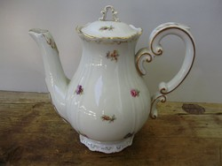 Antik Zsolnay aranyozott,tollazott virágmintás barokk kávéskanna