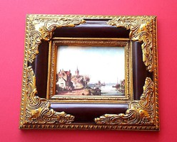 Holland tájkép és életkép HANGULAT, PORCELÁN KÉP RITKASÁG,GYÖNYÖRŰ BAROKK ARANY KERET,LUXUS AJÁNDÉK