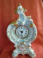 Csehszlovák barokk fajansz asztali óra quartz szerkezettel