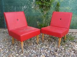 Retro műbőr borítású piros Tini fotel párban