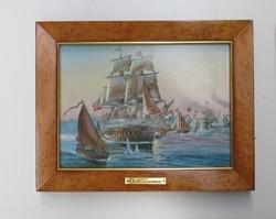 Porcelán kép hajós festmény kép certifikációval