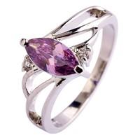 Gyűrű lila csepp alakú kővel 7-es ÚJ!