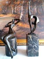 Szép formás art deco bronz szobrok