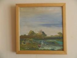 Táj zöldben - vízparton - olaj vászon - jelzett - festmény ( Csak nyáron árulom!)