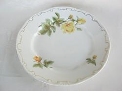 Zsolnay porcelán sárga rózsás lapos tányér