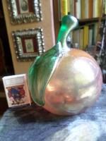 Muránói , szakított-fújt , üveg alma .11 x 10 cm / szára nélkül mérve /