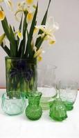Zöldek - art deco  csiszolt, metszett parfümös és ékszeres