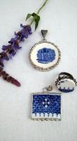 Antik törött porcelánból és csempéből készített kézműves medálok és gyűrű