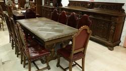 Dúsan faragott antik reneszánsz étkezőgarnitúra!Kastélybútor!