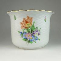0R316 Régi Herendi virágmintás porcelán kaspó