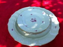 Herendi  kézzel  festett süteményes tál  kistányérokkal