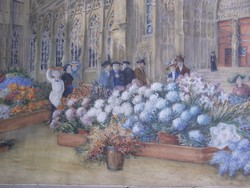 Ismeretlen művész: Virágpiac egy katedrális előtt