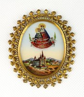 0R290 Antik aranyozott Mariazell üvegikon 1894
