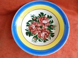 Régi hollóházi porcelán rózsás falitányér