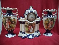 Csodálatos viktoriánus fajansz kandalló óra garnitúra a 19. századból Angol