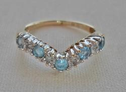 Szépséges antik valódi akvamarin és 0,12ct gyémánt aranygyűrű