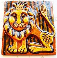 Retro, oroszlánkirály mázas terrakotta falikép
