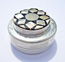 Libanoni ezüst gyöngyház berakásos doboz