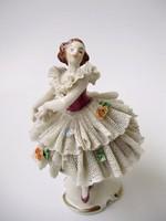 Antik Volkstedt csipkeruhás balerina