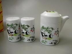 Extrém ritka kínai porcelán, pandás fűszerartó készlet,dobozában