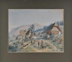 """Ismeretlen művész: Alpesi tájkép, """"Boselman"""" jelz,"""