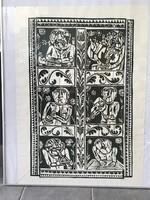 Bognár Zoltán, grafikus linometszete: Népzenészek, 50 x 80 cm!!!