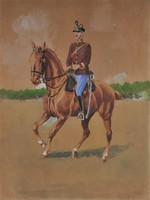 Ismeretlen művész: Lovastiszt 1910 k., akvarell