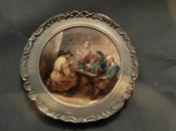 Porcelán kép , ón keretben