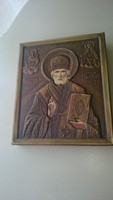 Szent Miklós rézborítású ikon fali kép.
