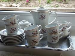 Hollóházi porcelán, 6 személyes antik madaras kávéskészlet, mokkáskészlet hibátlan, hiánytalan!