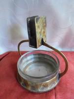 Szecessziós réz gyufa és hamutartó üveg betéttel