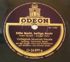 """ODEON 10"""" 78rpm sellacklemez német gyártmányú Stille Nacht, heilige Nacht kölni dóm harangjátékával"""