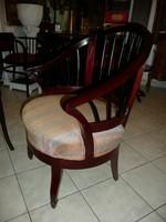 KURIÓZUM! Gurulós antik osztrák szecessziós kárpitos szék / fotel a Monarchia idejéből