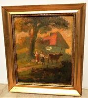 """Boris Kriukow (1895-1967) Híres Ukrán festő """"Hazafelé"""" c. olajfestménye Eredeti Garanciával !!!"""