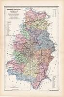 Krassó - Szörény vármegye térkép 1904, megye, Nagy - Magyarország, eredeti, Kogutowicz Manó, atlasz